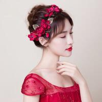 配饰结婚盘发饰品 新娘头饰新款红色发箍花朵发饰敬酒服 红色