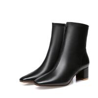 by单靴chic瘦瘦靴短靴粗跟far法式少女鞋复古粗跟中筒靴中跟短靴SN7073