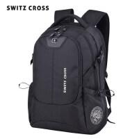 瑞士双肩包时尚男士潮流高中生书包男休闲商务旅行大容量电脑背包
