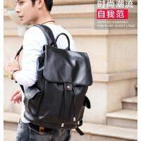 欧洲站休闲双肩包男士韩版背包男时尚学生书包旅行包电脑真皮男包