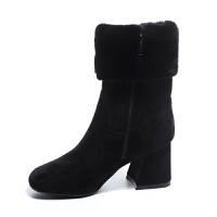 冬季新款羊毛中筒靴加绒粗跟弹力短靴羊反绒网红高跟女鞋皮毛一体 加毛款侧拉链6.5厘米跟 黑色绒里