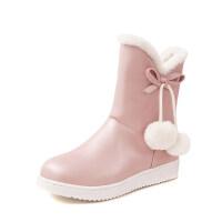 韩版2018冬新款加厚绒保暖女童雪地靴短靴可爱蝴蝶结女童靴子童鞋软底