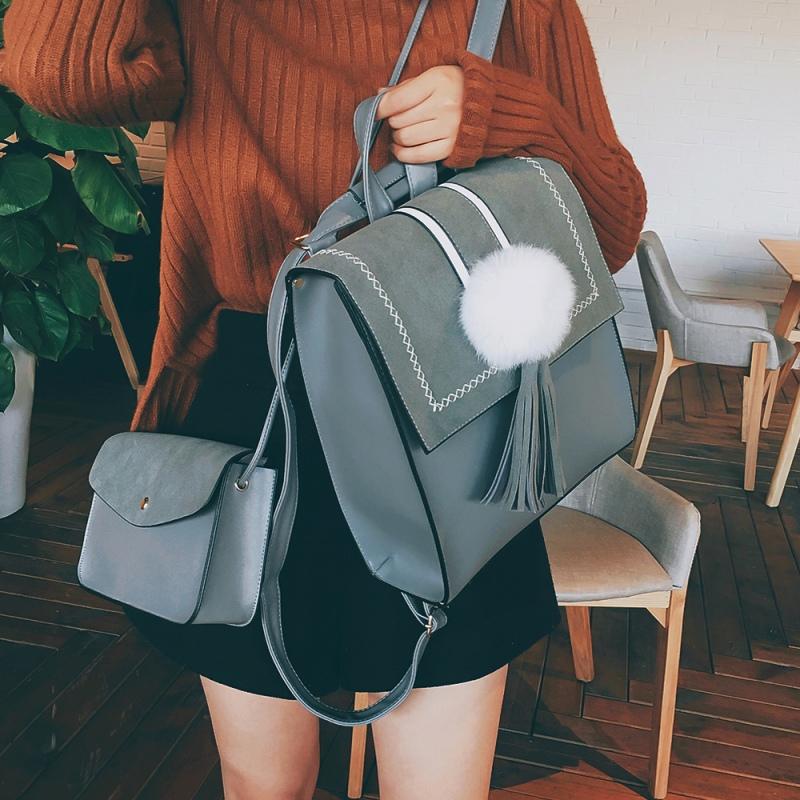 复古双肩包女英伦流苏背包校园中学生pu皮书包多用女背包 灰色 带小包 发货周期:一般在付款后2-90天左右发货,具体发货时间请以与客服协商的时间为准
