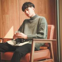 №【2019新款】小伙子穿的ins超火的冬套头高领毛衣男士针织衫韩版潮流外套ulzzang慵懒风