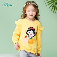 【129元3件】迪士尼Disney童装 宝宝衣服卡通白雪公主2019春季新款荷叶边休闲纯棉卫衣191S1120