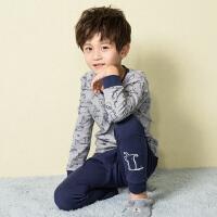 【3件3折:74元】水孩儿souhait男童家居服套装纯棉舒适儿童睡衣套装男长袖薄款新款AMQ0645568