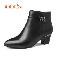 【红蜻蜓领�涣⒓�150】红蜻蜓女鞋秋冬新款短靴真皮粗跟加绒棉靴高跟棉鞋女靴子