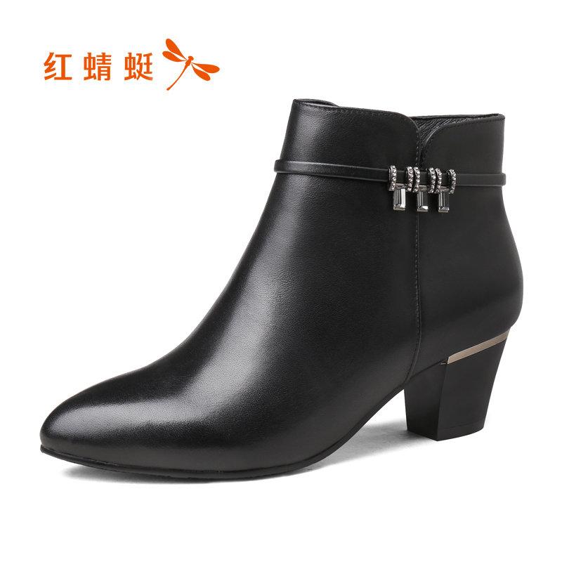 【红蜻蜓领劵立减150】红蜻蜓女鞋秋冬新款短靴真皮粗跟加绒棉靴高跟棉鞋女靴子