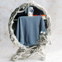工艺品 欧式树脂化妆镜装饰摆件 结婚新房礼品62 银色仿古 2238428*12*36