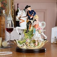 高档欧式陶瓷人物摆件奢华 皇室马骑士美女家居客厅工艺品摆设 骑士与美女132A2