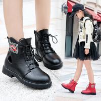 2018新款女童鞋秋冬英伦风短靴儿童马丁靴短筒靴子女孩公主二棉靴