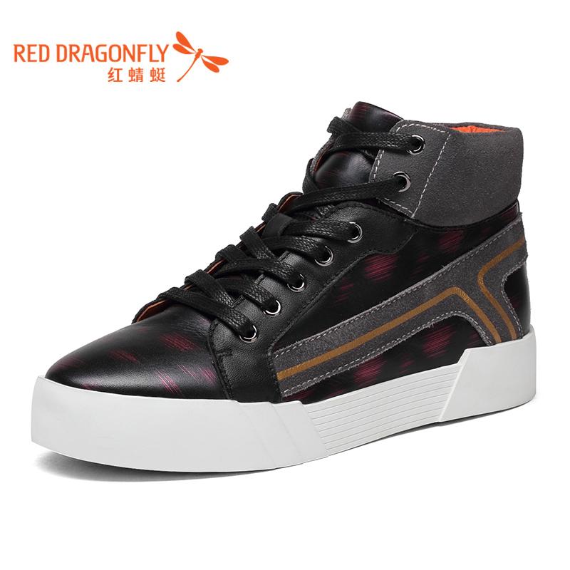 【领劵下单立减120】红蜻蜓真皮女单鞋新款正品时尚系带高帮休闲舒适时尚女鞋
