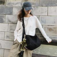 帆布斜挎包男女学生休闲书包纯色极简大容量单肩