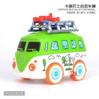 儿童仿真卡通旅游巴士合金车模型 声光回力玩具汽车