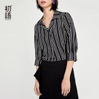 【2件3折价:71.4元】初语黑白条纹上衣女夏装新款韩版宽松翻领七分袖雪纺蕾丝衫
