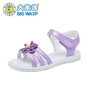 大黄蜂女童凉鞋2018新款 韩版平底夏季女孩公主鞋 儿童鞋子中大童