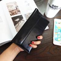 新款韩版长款女士钱包 磁扣时尚软皮钱夹简约薄款牛皮潮