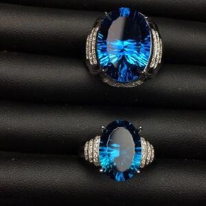 天然伦敦蓝托帕情侣戒指,火彩爆闪!瑞士蓝!