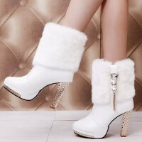 靴子女 短靴带毛短靴女秋冬季新款粗跟高跟鞋防水台中跟中筒冬天雪地靴带毛毛靴子 TBP