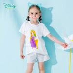 【6.20秒杀价:39.9】迪士尼Disney童装 女宝公主印花短袖套装夏季新品儿童纯棉T恤短裤两件套192T900