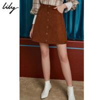 【25折到手价:99.75元】 Lily春新款女装简约小A型金属圆环短裙半身裙118340C6623