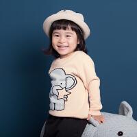 秋冬儿童针织衫女童宝宝套头大象毛衣圆领针织打底羊毛衫