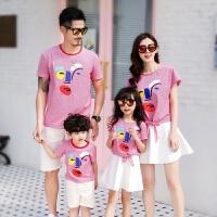 亲子装夏装新款潮全家装一家三口母女套装裙母子春装短袖T恤