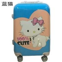 PC拉杆箱万向轮20寸24寸卡通行李箱包男女旅行箱子学生密码箱 青色 蓝猫