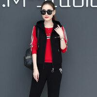 韩版宽松连帽卫衣三件套女长袖运动服套装女时尚马甲
