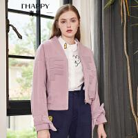 海贝2018秋季新款女装粉色棒球领长袖收腰粉色毛呢短款外套夹克