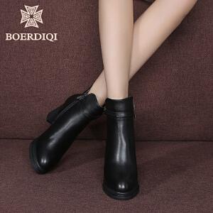 波尔谛奇冬真皮尖头黑色拉链及踝短靴子女加绒粗高跟马丁靴63098