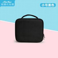 韩国隔板收纳大号化妆包化妆箱跟妆手提美容纹绣工具防水 小号 黑色
