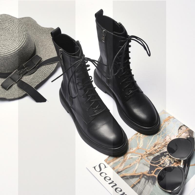 2018秋冬新款女短靴平底马丁靴真皮系带复古骑士靴双拉链牛皮女靴SN1314