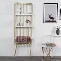 北欧铁艺落地墙角置物架客厅装饰架子实木书架现代简约展示架隔板