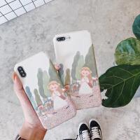 20190605021844189苹果6s手机壳磨砂硬壳iPhone8/X/7plus可爱卡通女孩日韩全包外套