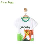 【每满100减50到手价:89】jeep童装 男童小童宝宝短袖T恤春夏 童装卡通潮酷体恤棉质
