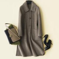 2018秋冬新款双面仿羊绒大衣女韩版宽松双面毛呢中长款显瘦外套