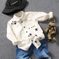 儿童白衬衫春秋冬童装新品男童宝宝星星印花长袖衬衣百搭上衣