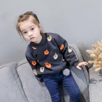 韩版 冬新款女童印猫头卫衣加厚加绒长袖套头打底衫2-7岁B7-T33