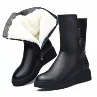 冬季真皮羊毛女靴保暖加绒厚底女棉靴中筒妈妈棉鞋平底雪地靴真皮 黑色 K8783收藏*品