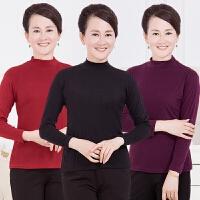 中老年长袖T恤高领加厚女装秋冬中年人妈妈装上衣保暖大码打底衫