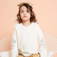 【2件2.5折到手价:49.8】moomoo童装女童毛衣春秋装新款绣花喇叭袖洋气中大儿童套头毛衫