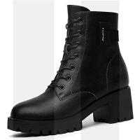 马丁靴女粗跟2018秋冬季新款中筒靴子复古英伦风高跟鞋皮鞋短靴女SN3176