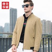 传奇保罗皮夹克男2018冬季新款男士纯色立领修身商务休闲冬装外套J18Q039
