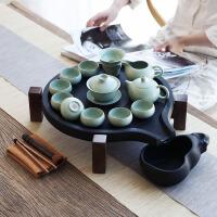 汝窑茶具套装家用简约现代客厅办公室整套黑陶瓷茶壶茶杯日式功夫