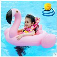 儿童泳圈座圈加厚充气宝宝游泳玩具装备泳衣圈送打气筒火烈鸟坐骑