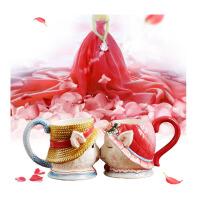 创意实用个性浪漫装饰品婚房小摆件 闺蜜新婚礼品婚庆*结婚礼物 喵咪杯(一对)