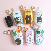 迷你卡通ins熊本韩版挂件大众通用可爱汽车钥匙包女士 白底熊兔鸭 汽车钥匙包