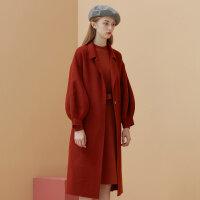 【1件5折�r:324.5,可�B券】美特斯邦威羊毛大衣女�赓|�p面呢大衣甜美中�L款外套冬�b新款