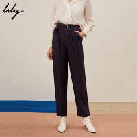 【6/4-6/8 一口价:239元】 Lily春女装人字纹高腰修身休闲显瘦直筒裤119140C52